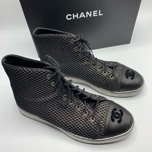 CHANEL High Top CC Mesh Sneakers Chuck Taylors